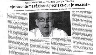 Parution dans Elwatan (Algérie 2018)